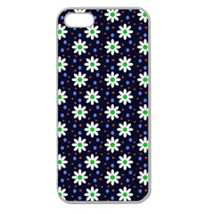 Daisy Dots Navy Blue Apple Seamless Iphone 5 Case (clear)