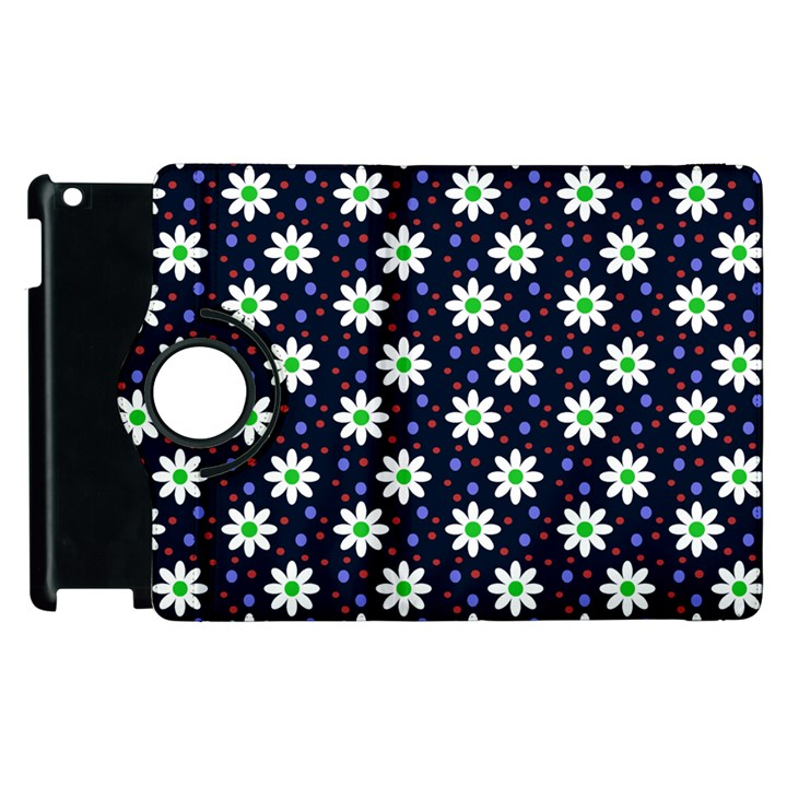 Daisy Dots Navy Blue Apple iPad 3/4 Flip 360 Case