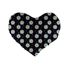 Daisy Dots Navy Blue Standard 16  Premium Heart Shape Cushions
