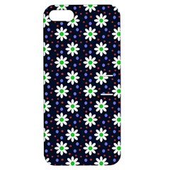 Daisy Dots Navy Blue Apple Iphone 5 Hardshell Case With Stand