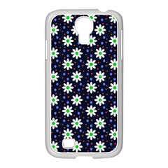 Daisy Dots Navy Blue Samsung Galaxy S4 I9500/ I9505 Case (white)