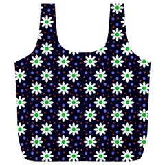 Daisy Dots Navy Blue Full Print Recycle Bags (l)