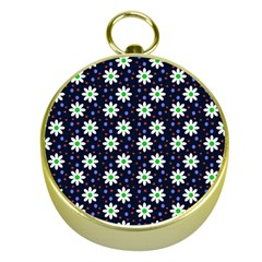 Daisy Dots Navy Blue Gold Compasses