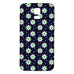 Daisy Dots Navy Blue Samsung Galaxy S5 Back Case (white)