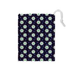 Daisy Dots Navy Blue Drawstring Pouches (medium)