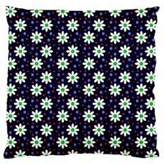 Daisy Dots Navy Blue Large Flano Cushion Case (one Side)