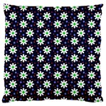 Daisy Dots Navy Blue Large Flano Cushion Case (Two Sides) Back