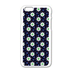 Daisy Dots Navy Blue Apple Iphone 6/6s White Enamel Case