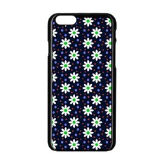Daisy Dots Navy Blue Apple Iphone 6/6s Black Enamel Case