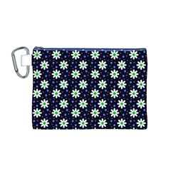 Daisy Dots Navy Blue Canvas Cosmetic Bag (m)