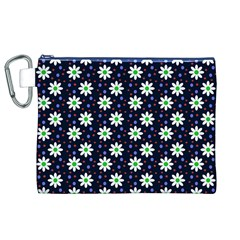 Daisy Dots Navy Blue Canvas Cosmetic Bag (xl)
