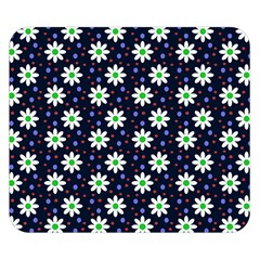 Daisy Dots Navy Blue Double Sided Flano Blanket (small)
