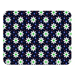 Daisy Dots Navy Blue Double Sided Flano Blanket (large)
