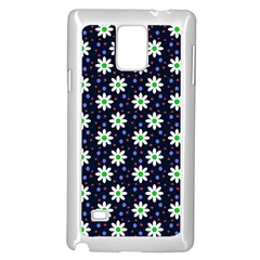 Daisy Dots Navy Blue Samsung Galaxy Note 4 Case (white)