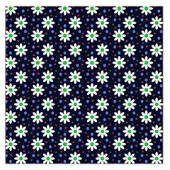 Daisy Dots Navy Blue Large Satin Scarf (square)