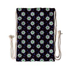 Daisy Dots Navy Blue Drawstring Bag (small)