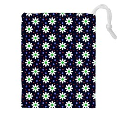 Daisy Dots Navy Blue Drawstring Pouches (xxl)