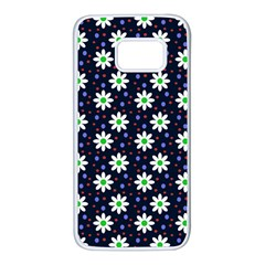Daisy Dots Navy Blue Samsung Galaxy S7 White Seamless Case