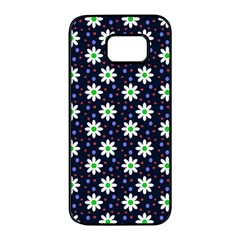 Daisy Dots Navy Blue Samsung Galaxy S7 Edge Black Seamless Case