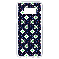 Daisy Dots Navy Blue Samsung Galaxy S8 White Seamless Case