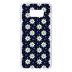 Daisy Dots Navy Blue Samsung Galaxy S8 Plus White Seamless Case
