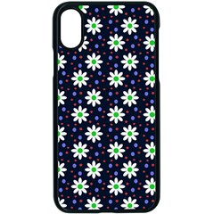 Daisy Dots Navy Blue Apple Iphone X Seamless Case (black)