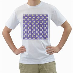 Daisy Dots Violet Men s T Shirt (white) (two Sided)