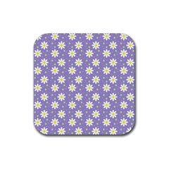 Daisy Dots Violet Rubber Square Coaster (4 Pack)