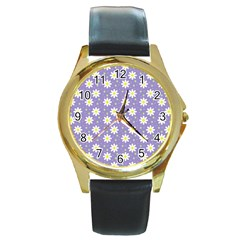 Daisy Dots Violet Round Gold Metal Watch
