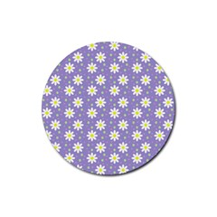 Daisy Dots Violet Rubber Round Coaster (4 Pack)