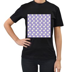 Daisy Dots Violet Women s T Shirt (black) (two Sided)