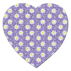 Daisy Dots Violet Jigsaw Puzzle (heart)