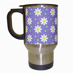 Daisy Dots Violet Travel Mugs (white)