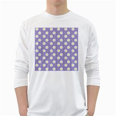 Daisy Dots Violet White Long Sleeve T Shirts