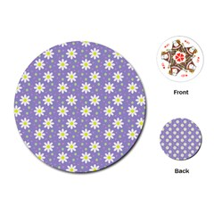 Daisy Dots Violet Playing Cards (round)