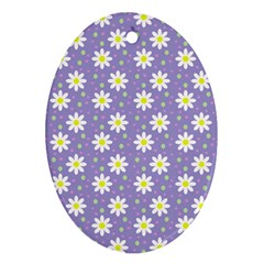 Daisy Dots Violet Oval Ornament (two Sides)