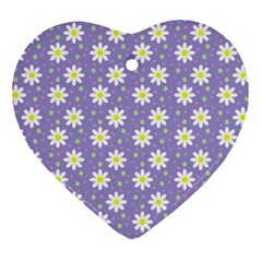 Daisy Dots Violet Heart Ornament (two Sides)