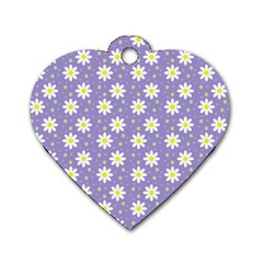 Daisy Dots Violet Dog Tag Heart (two Sides)