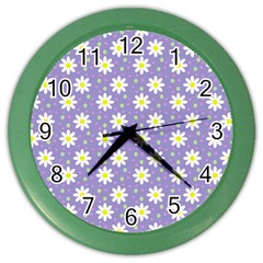 Daisy Dots Violet Color Wall Clocks