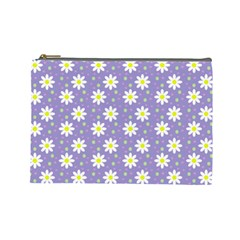 Daisy Dots Violet Cosmetic Bag (large)