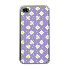Daisy Dots Violet Apple Iphone 4 Case (clear)