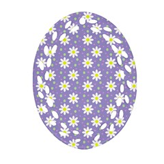 Daisy Dots Violet Oval Filigree Ornament (two Sides)