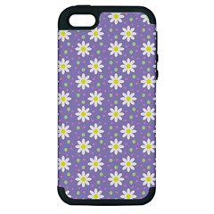 Daisy Dots Violet Apple Iphone 5 Hardshell Case (pc+silicone)