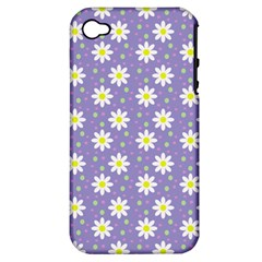 Daisy Dots Violet Apple Iphone 4/4s Hardshell Case (pc+silicone)
