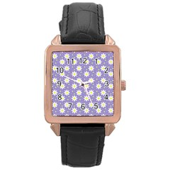 Daisy Dots Violet Rose Gold Leather Watch