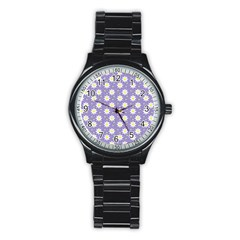 Daisy Dots Violet Stainless Steel Round Watch