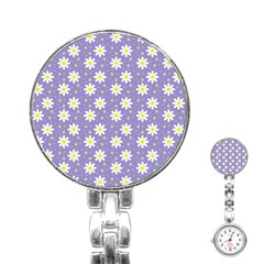Daisy Dots Violet Stainless Steel Nurses Watch