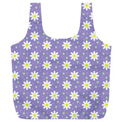 Daisy Dots Violet Full Print Recycle Bags (l)