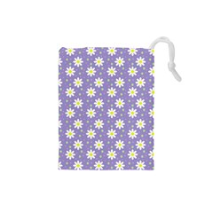 Daisy Dots Violet Drawstring Pouches (small)