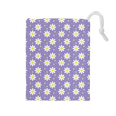 Daisy Dots Violet Drawstring Pouches (large)